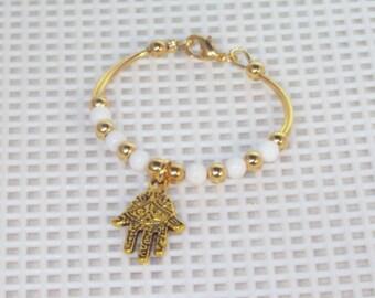 Newborn Bracelet - Silver or Gold White Mountain Jade, Hamsa, Evil Eye, Baby Bracelet, Keepsake