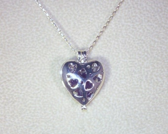 Gemstone & Sterling Silver Jewelry - Silver Heart Cage with Choice of Gemstones - Garnet, Amethyst or Aquamarine - Sterling Silver Chain