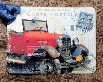 Old Red Car Postcard Tags #698