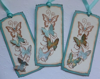 Butterfly gift tags or bookmarks, handstamped vintage style nature themed teal and brown - set of 6
