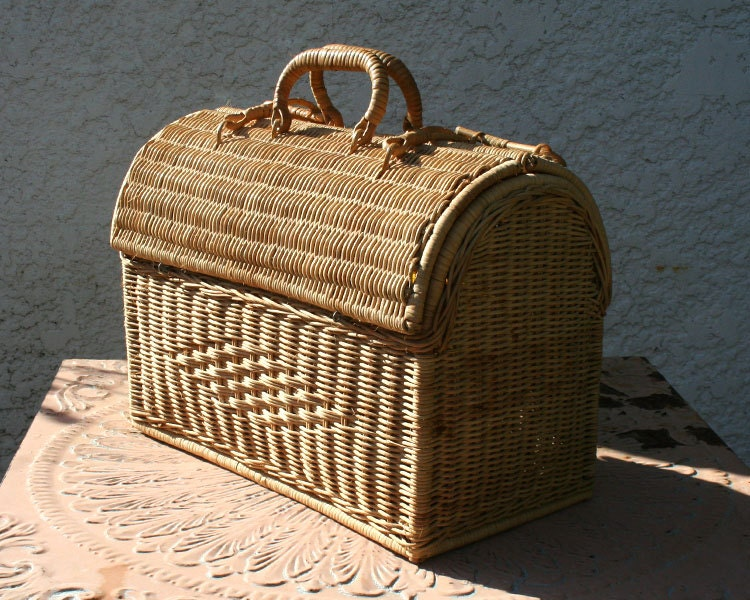 Woven Basket With Hinged Lid : Woven wicker basket with double hinged lid and handles bright