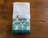 Turquoise Medallion Crochet Bar Mop Towel