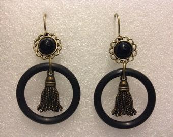 TASSEL GASKET EARRINGS Avant Garde Rubber Jewelry Earrings Dangle Earring French Lever Back Earrings,Steampunk Jewelry,Boho Earrings