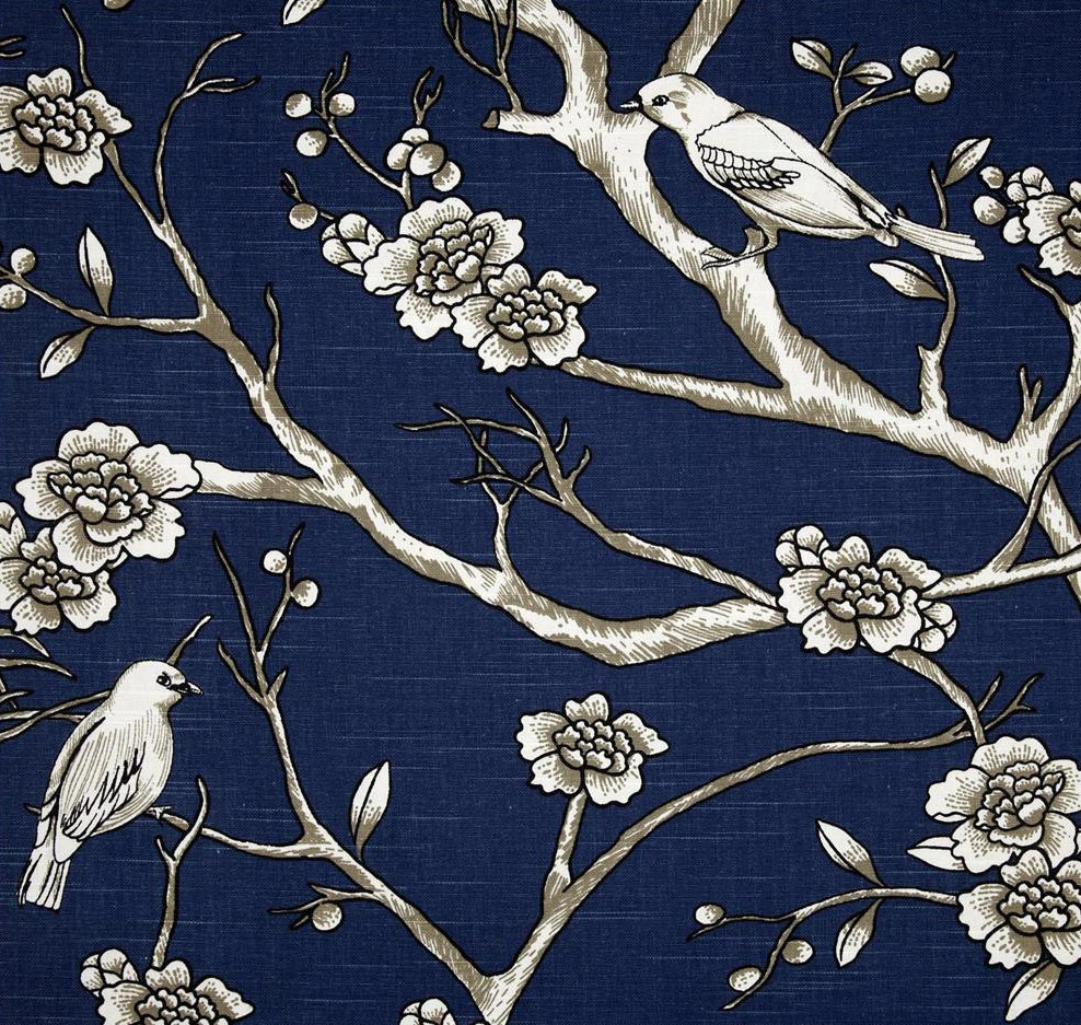 Navy Blue Curtains Custom Bird Theme Curtain Panels Blue