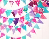 Pink/purple/turquoise mini bunting *sold BY THE FOOT* party/photo prop