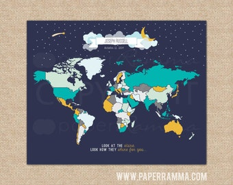 Kids Travel Map, Nursery Map, Canvas Pushpin Map, Large World Map, Star Nursery Map, World Map Poster,Travel Memory Map // N-I07-1PS AA4 04S