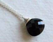 Black Spinel Wire Wrapped Stone Necklace - Wire Wrapped Silver Jewelry - Gift for Her