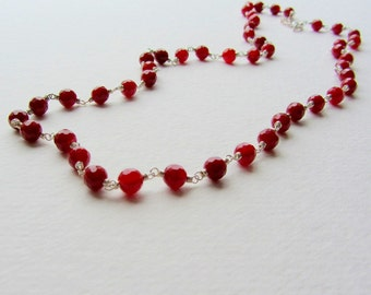 Long Dark Orange Carnelian Necklace - Wire Wrapped Jewelry - Versatile Handmade Jewelry