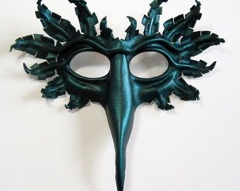 Bird mask, hand-molded leather, hand-painted in dark metallic green, Halloween