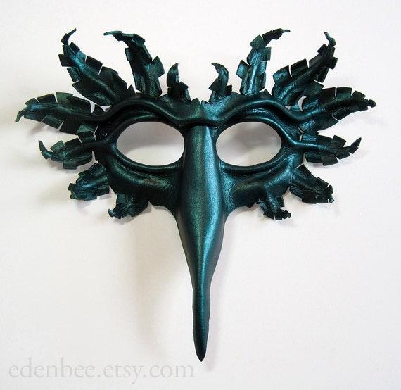 Bird mask, hand-molded leather, hand-painted in dark metallic green, Halloween