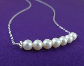 Pearl Necklace, Sterling silver, Row of pearls, simple pearl necklace, bridesmaid gifts
