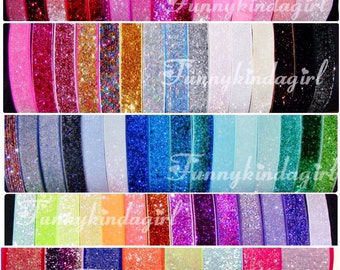 5/8 inch Glitter Elastic Headband Sparkle Choose One from 70 Colors Pastels Jewel Tones Mint Silver Neon Pink Ivory Bookmark Interchangeable