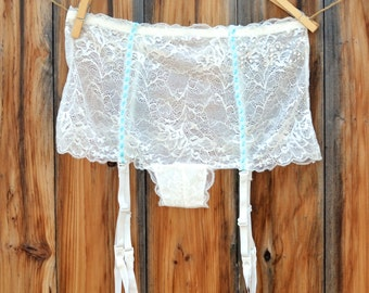 Sexy Something Blue Garter Undie Says Mrs. in Blue stones or Silver - Bridal Underwear, Panty, Garter Belt Size Small - Ships in 24 hrs