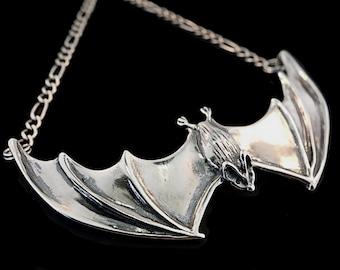 Bat Necklace Silver Bat Lover Bat Pendant Large Spread Winged Bat Pendant Silver Bat Jewelry Gothic Jewelry Bat Wings  Bat Charm Bat Art