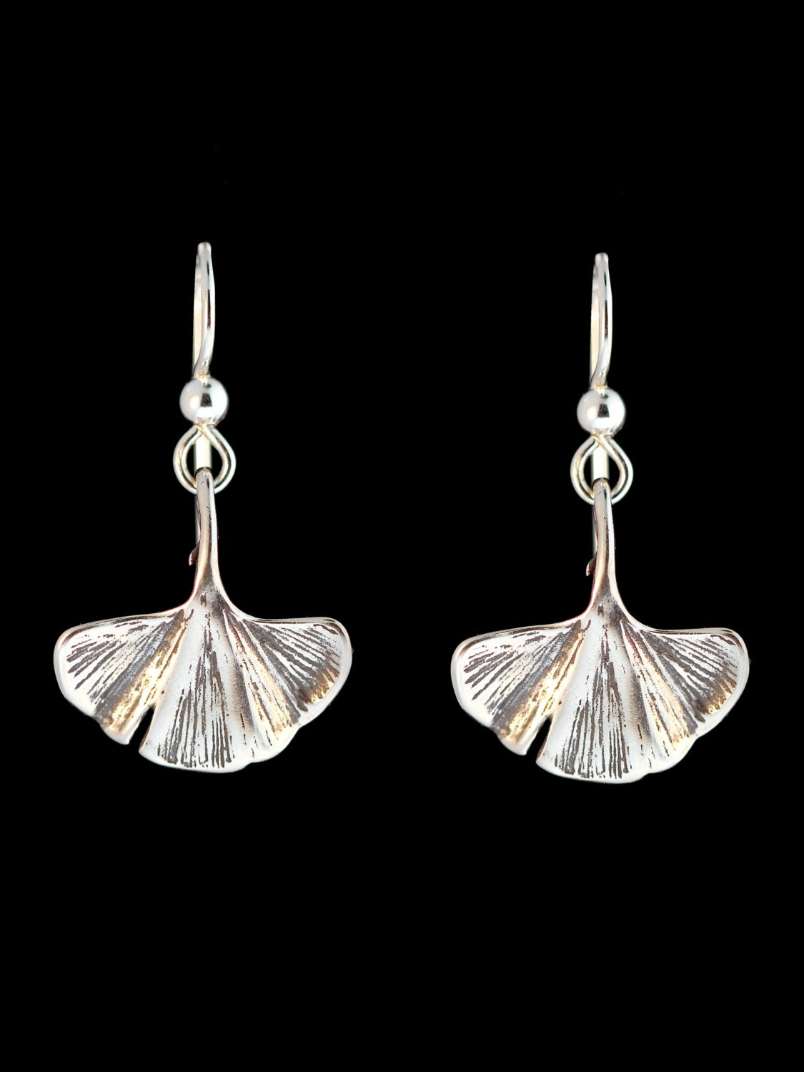 ginkgo leaf earrings silver leaf charm earrings silver