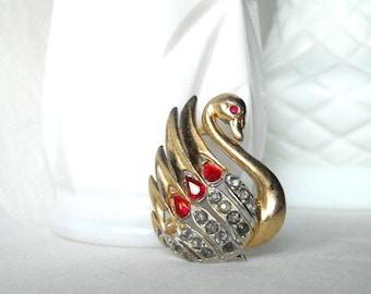 Vintage Brooch Red Rhinestone Pin Vintage Swan Pin Vintage Swan Brooch