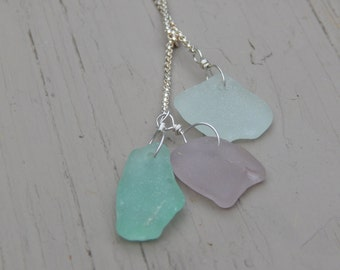 Three by the sea sea glass necklace