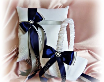 Navy Blue And Silver Grey Wedding Flower Girl Basket And Ring Pillow Set, Snowflake Weddings Ceremony Decor
