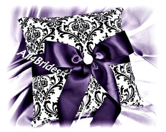Lapis and Madison damask wedding ring bearer pillow, wedding ring cushion.  Weddings decorations.