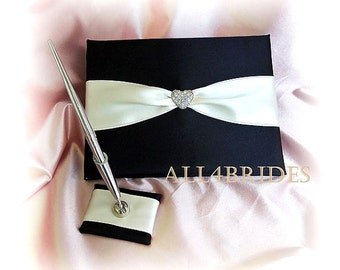 Wedding guest book, Heart collection, black and white or ivory wedding accessories