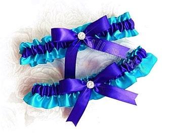 Turquoise and royal blue wedding bridal leg garter set, bridal garter belt set or prom garters