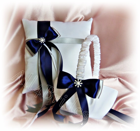 Flower Girl Basket Gray : Navy blue and silver grey wedding flower girl basket ring