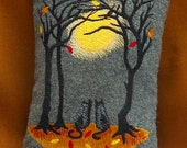 Small Autumn Fall Season Kitty Cats Forest Tree Scene Halloween Stitched on Gray Linen or  Wool Embroidered Approx. 4 1/2 x 6 Inch Pillow