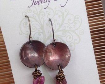 Natural tourmaline wire wrapped earrings