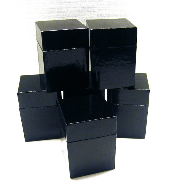 Glossy black boxes from owlshop on etsy studio for Black box container studios
