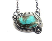 Natural Turquoise and Sterling Silver Necklace Inspired by Space, Oxidized Silver and Natural Turquoise Jewelry, Galaxy Jewelry