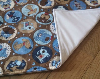 Waterproof Changing Pad - Blue Brown Puppy Dog - 17 x 30 Mat - Easy Care Wash/Dry