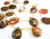 Multi Quartz Beads, Volcano Quartz Beads, Pear Briolettes, 13mm x 18mm, Loveofjewelry, Multi Color Gemstone, SKU 4226A