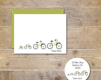 Note Cards, Stationery Set, Stationary Set, Personalized Note Cards . Stationery . Bike Stationery . Family Stationary - Tour De Family