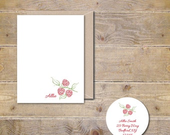Personalized Stationery Set, Hostess Gift, Stationary Set, Raspberries, Personalized Note Cards,Thank You Cards, Stationary Set - Berries