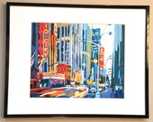 "New York Art Framed 8x10 NYC Print ""Radio City at Night""  Mat black metal Frame Included.  Ready to Hang, by Gwen Meyerson"