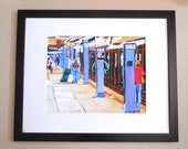 NYC Art Framed 16x20 Large black wood frame, NYC Subway, Waiting For The Train, print 11x14 Gwen Meyerson