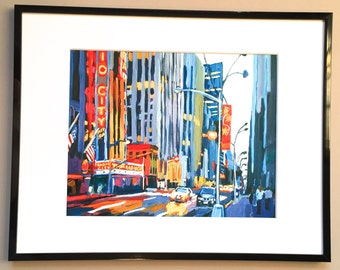 """New York Art Framed 8x10 NYC Print """"Radio City at Night""""  Mat black metal Frame Included.  Ready to Hang, by Gwen Meyerson"""