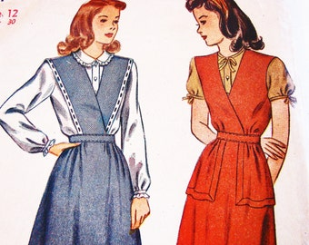 1940s Dress Pattern Simplicity Size 12 Jumper Pattern with Blouse
