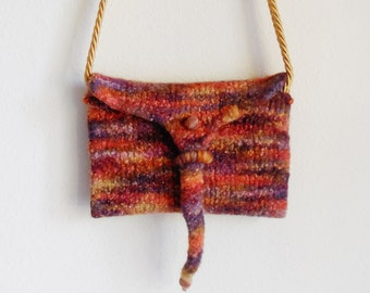 Hand Felted Purse...Knitted Purse...Modern Unique Purse...Hand Made