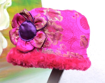 NEW CLOCHE STYLE Asian Motif  Brocade Reversible Fabric Hat....