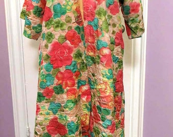 Vintage Bold Colorful Jane Lynn Housedress Housecoat Robe Flowered Puffy Fabric Peach Green Turquoise Beige