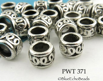 9mm Large Hole Pewter Double Curls Ring Bead Antiqued Silver (PWT 371)  10 pcs BlueEchoBeads