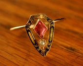 14K Gold, Ruby and Pearl Stick Pin Turned Ring
