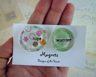 Round Glass Magnet Set - Hope Laughter