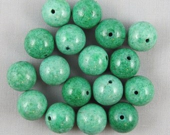 Green Magnesite 12mm Round Beads - 17 pieces #N3