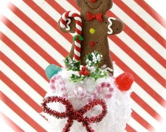 Gingerbread Man Snowball Ornament. Candyland Gingerbread Gumdrop Decor. Fab Secret Santa or Host Gift Stocking Stuffer.