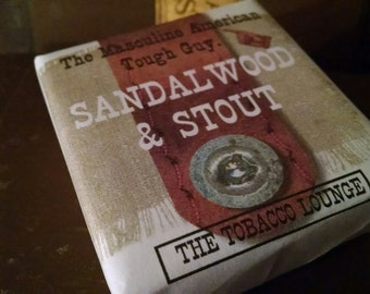 SANDALWOOD AND STOUT.  Vegan Soap for the masculine American tough guy.
