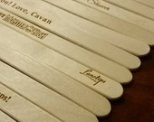 15 Laser Engraved Beveled Edge Popsicle Ice Cream Sticks