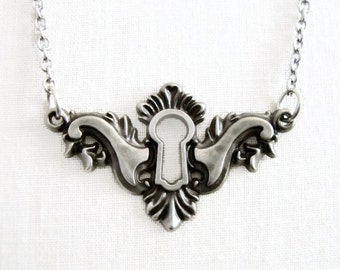 Antique Silver Keyhole Necklace