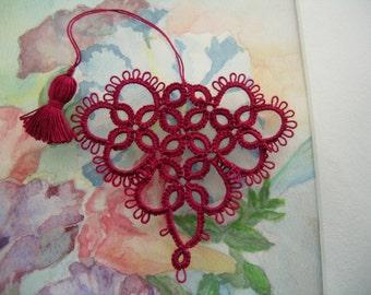Valentine Tatting Red Raspberry Heart Bookmark Seasoned With Love